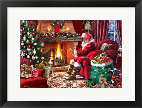 Framed Santa By Fire Print