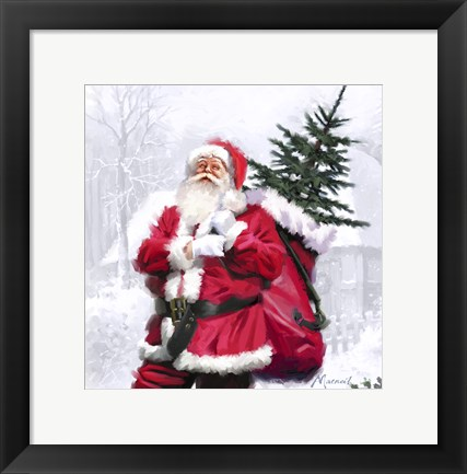 Framed Santa With Tree Print