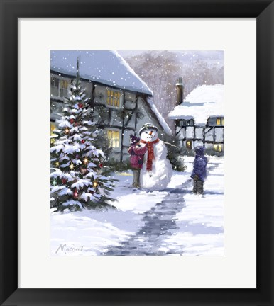 Framed Making Snowman 1 Print