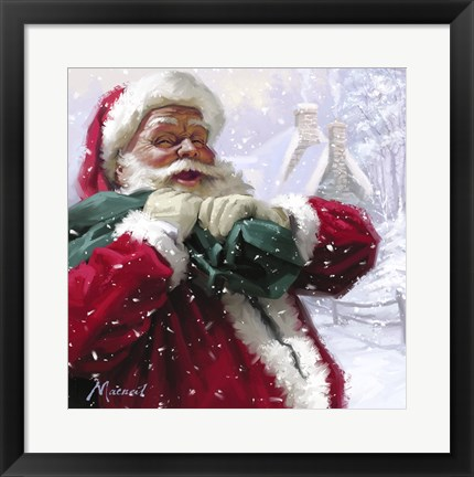 Framed Jolly Santa Print