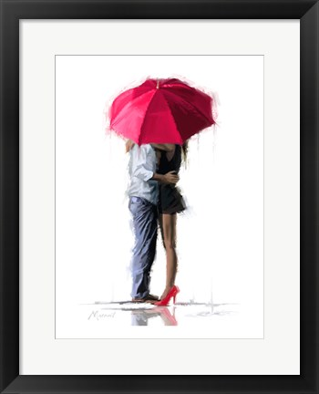 Framed Red Umbrella Print