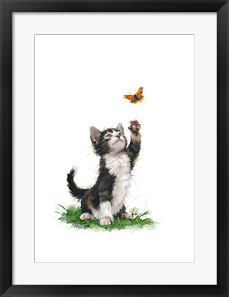 Framed Cat With Butterfly Print