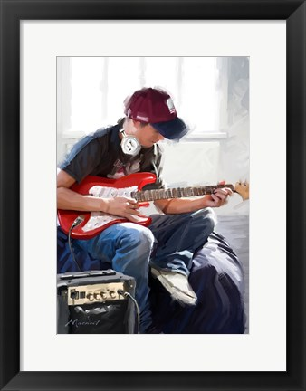 Framed Playing Guitar Print