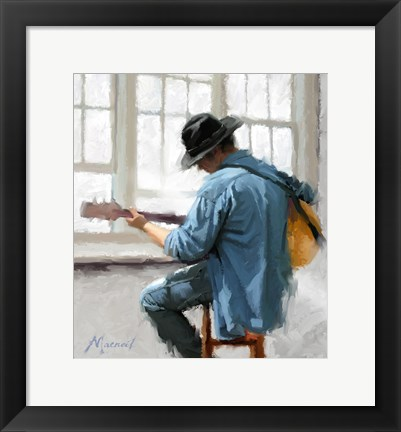 Framed Guitar Player Print