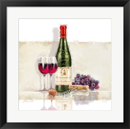 Framed Wine With Grapes Print