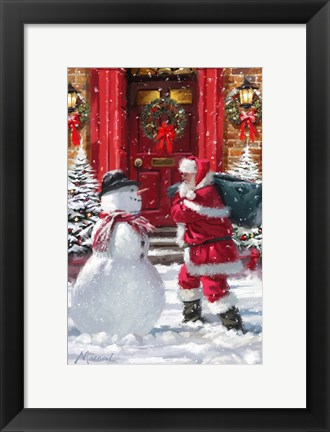 Framed Santa And Red Door Print