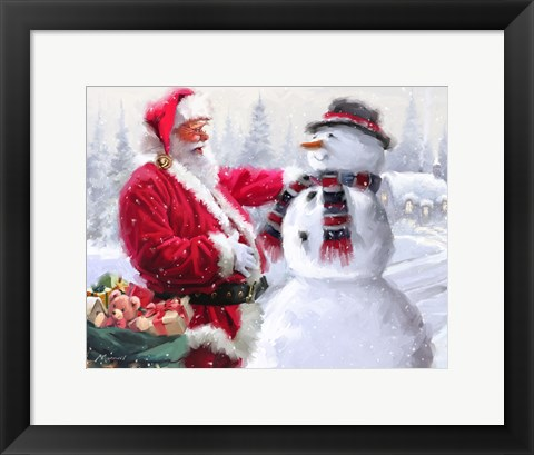 Framed Santa And Snowman 3 Print