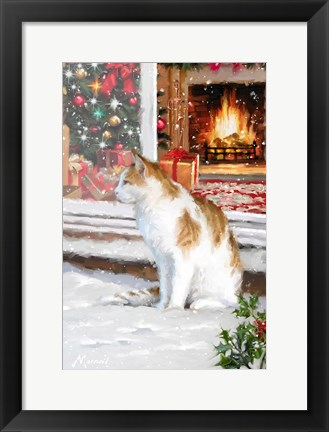 Framed Cat In Snow Print