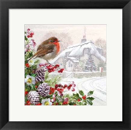 Framed Winter Robin Print
