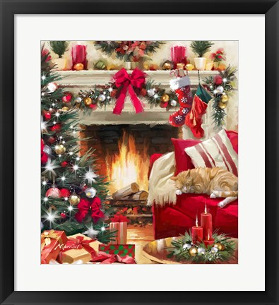 Framed Christmas Fireplace Print