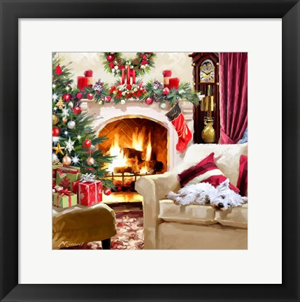 Framed Dog By Fire Print