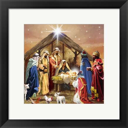 Framed Nativity Collage Print