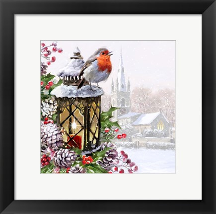 Framed Robin On Lantern Print