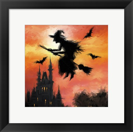 Framed Halloween Witch Print
