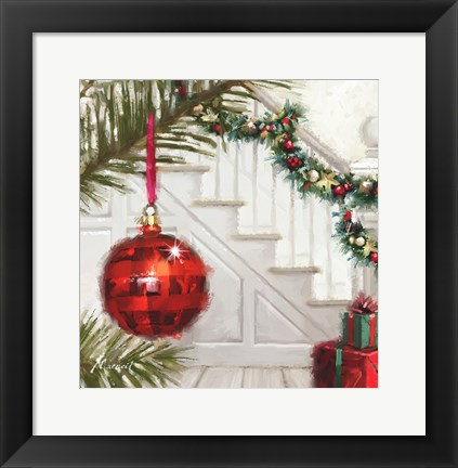 Framed Red Bauble 1 Print
