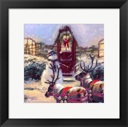 Framed Reindeer And Snowman 1 Print