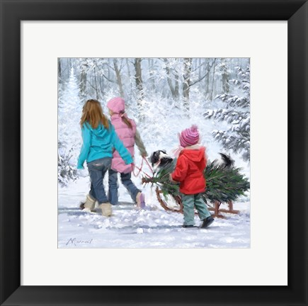 Framed Kids Pulling Tree Print