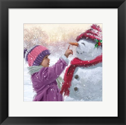Framed Girl With Snowman 1 Print
