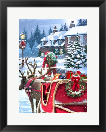 Framed Santa Delivering Print