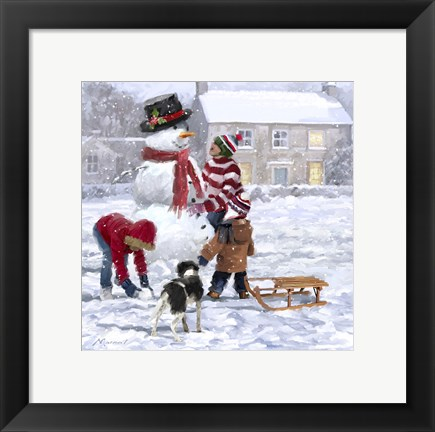 Framed Making Snowman 2 Print