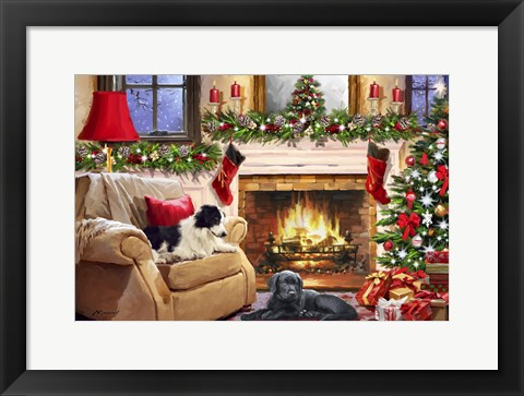 Framed Dogs by fire Print