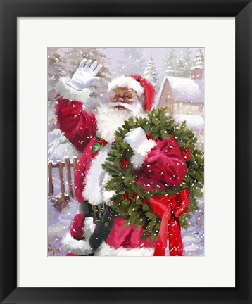 Framed Santa waving Print
