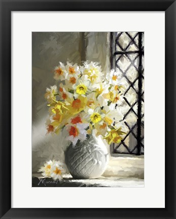 Framed Daffodils At Window Print