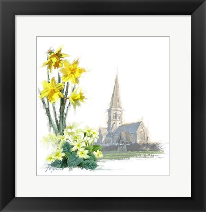 Framed Daffodils And Primroses Print