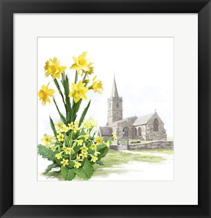 Framed Daffodils And Church Print