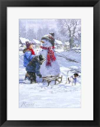Framed Kids And Snowman Print