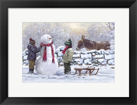 Framed Donkey In Snow Print