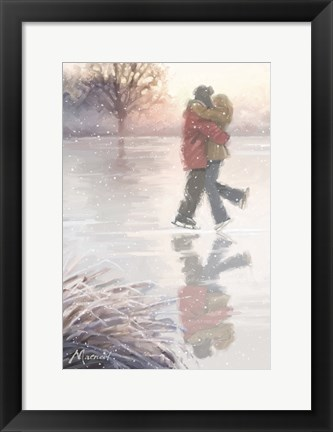 Framed Iceskating Couple Print