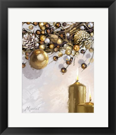Framed Gold Candles 1 Print