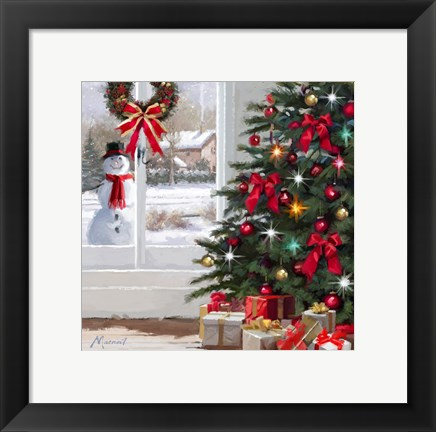 Framed Snowman At Window Print