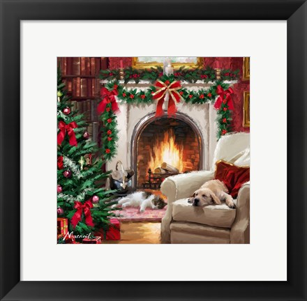 Framed Cat By Fireplace Print