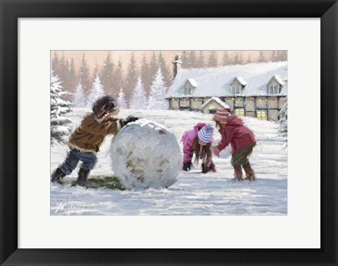 Framed Kids Playing In Snow Print