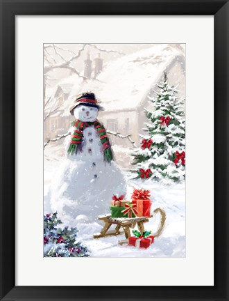 Framed Snowman And Sledge Print