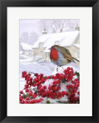 Framed Village Robin 1 Print