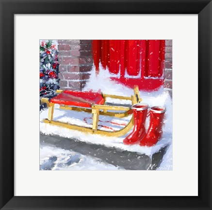 Framed Red Wellies Print