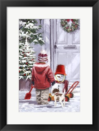 Framed Pushing Snowman 1 Print