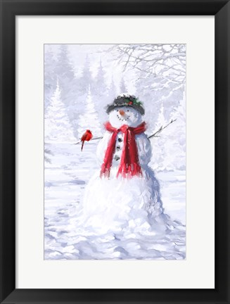 Framed Snowman With Cardinal Print