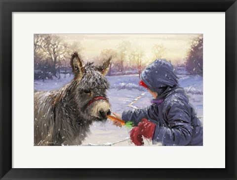 Framed Feeding Donkey Print