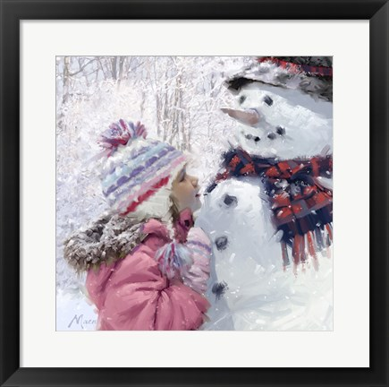Framed Girl With Snowman 2 Print