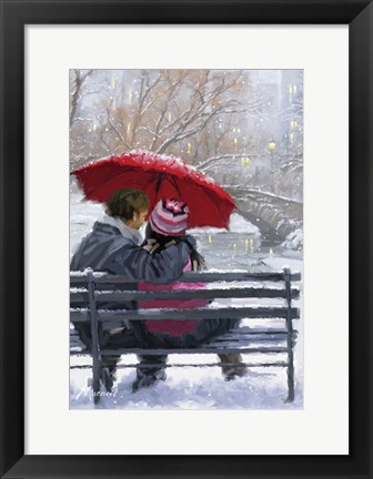 Framed Couple On Bench 2 Print