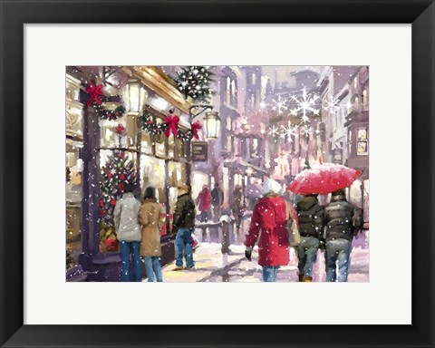 Framed Shopping For Christmas 2 Print