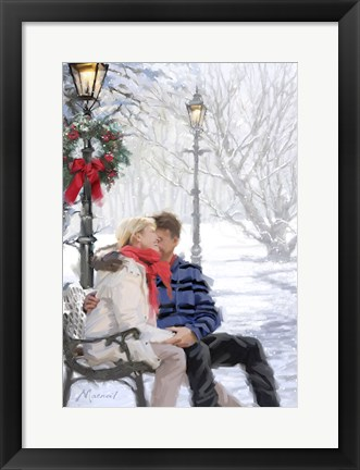 Framed Couple On Snowybench Print