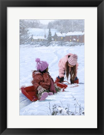 Framed Playing In Snow Print