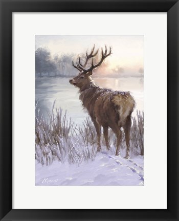 Framed Winter Deer Print
