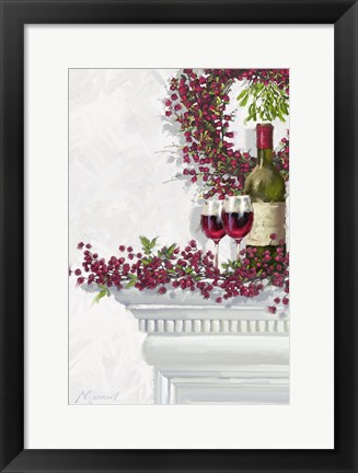 Framed Winter Berries And Wine Print