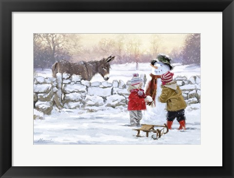 Framed Donkey And Kids Print